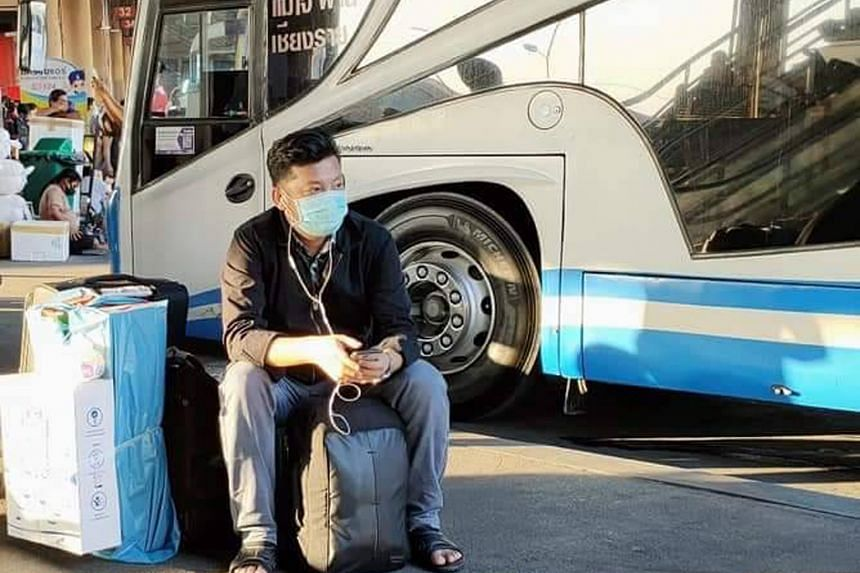 Mr Sai Tun Shwe, a freelance translator from Myanmar, waiting at Morchit bus station in Bangkok to take the coach to Mae Sot, from where he crossed over into Myanmar on March 23. PHOTO: COURTESY OF SAI TUN SHWE