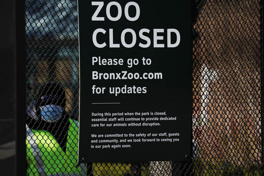 A guard stands at the Bronx Zoo entrance on April 6, 2020 in New York, after a tiger tested positive for coronavirus.