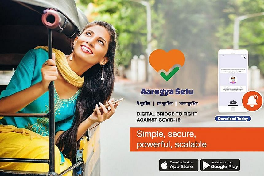 An advertisement for the Aarogya Setu contact tracing app launched by the Indian central government on April 2. PHOTO: AAROGYA SETU/TWITTER