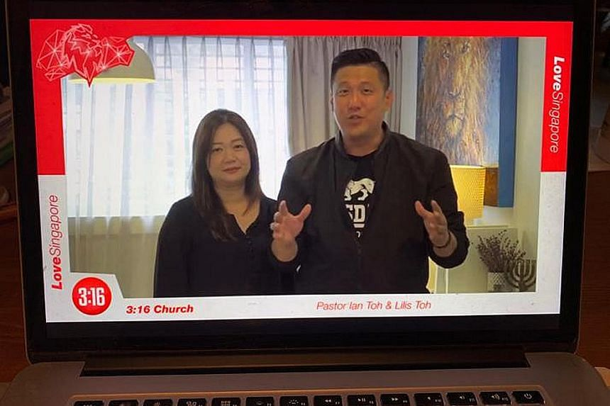 Pastor Ian Toh of 3:16 Church, with his wife, Lilis, leading an online Good Friday service as part of LoveSingapore's nationwide prayer drive yesterday. More than 100 churches signed up for one-hour slots of prayer, from 10am to 10pm, asking God for