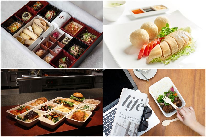 (From top left, clockwise) Saint Pierre, Coffee Lounge, Grand Hyatt Singapore's Meal Box, Wellness on the Go selection and Grand Hyatt's Rendang takeout.