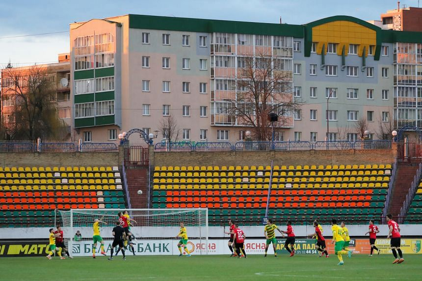 The match between FC Neman and Belshina in Belarus on April 10, 2020.
