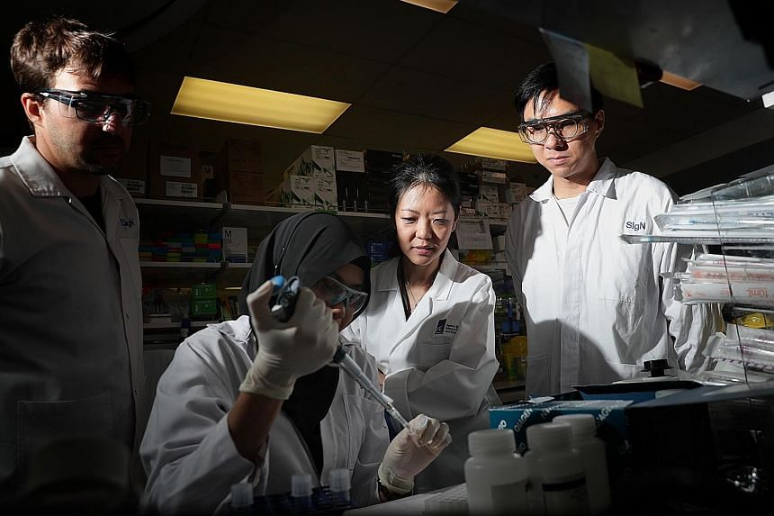 A*Star researchers at work in February. Laboratory work for projects has been put on hold during the circuit breaker period. However, researchers from institutions like A*Star and universities such as the National University of Singapore and Nanyang