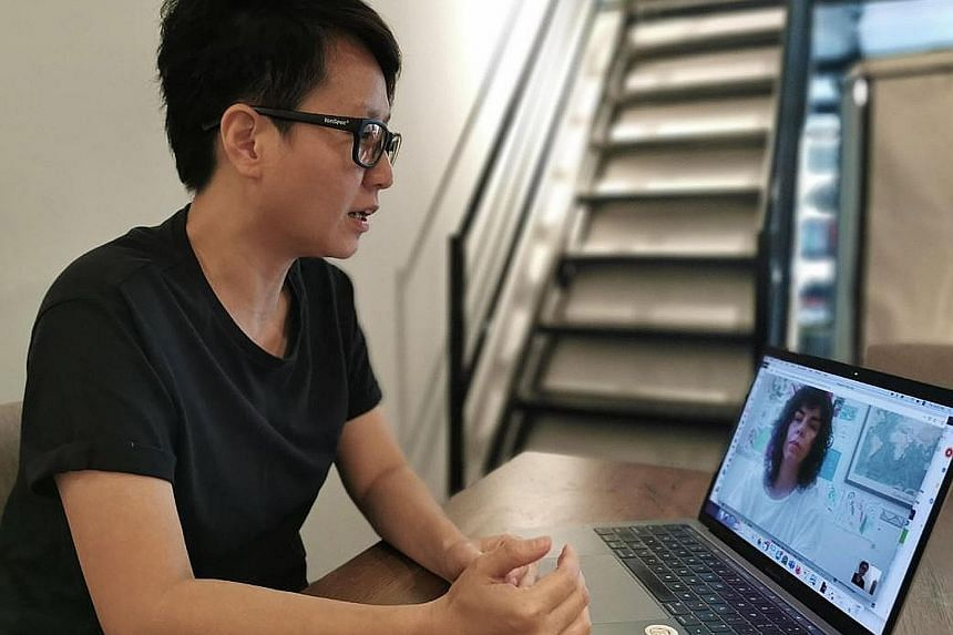 Ms Yeo Shih Yun will be keeping in touch with fellow artists via Google Hangouts and WhatsApp, and is also looking for software that will allow her to draw and collaborate with other artists live.