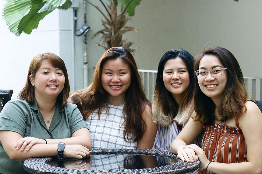 The Ready or Not? Singapore campaign team comprises (from left) design lead Ethel Tan; public relations lead Kirmaine Chen; content lead Zhu Xinyu; and sponsorships and logistics lead Shermaine Lee. They are all undergraduates at the Nanyang Technological