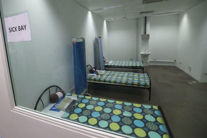 A sick bay at the medical centre housed at Tanjong Pagar Terminal.