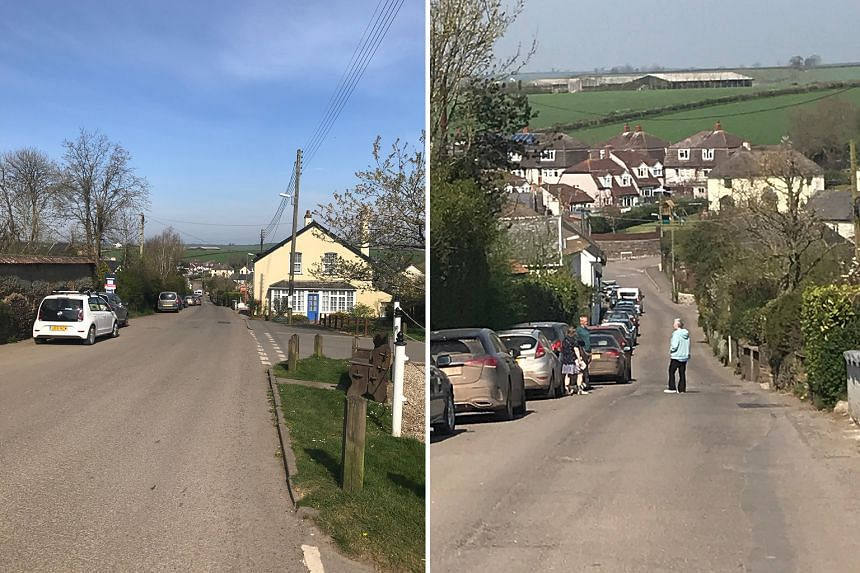 Left: A deserted main street in the middle of the day in the writer's village in Devon. Right: Social distancing is easy out in the countryside. But with the shutdown, city dwellers hoping to spend time in their idyllic country second homes were not
