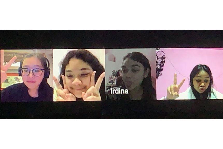 Friends (from left) Chelsea Kiew, Farrah Dewanti, Iman Rudyshahan and Tihani Shafie had a birthday sleepover over Google Hangouts.