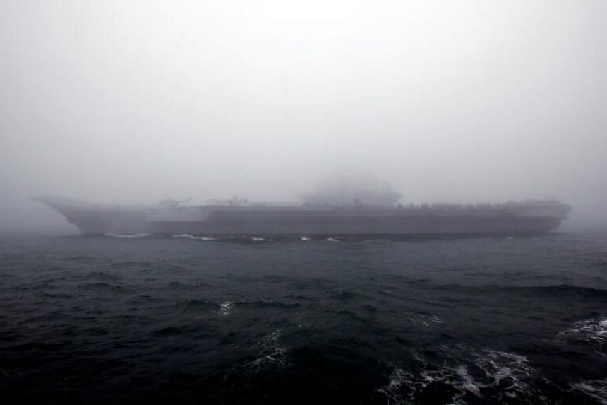 In this file picture, a Chinese aircraft carrier is seen near Qingdao, China, on April 23, 2019.