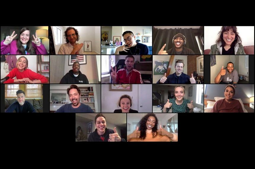 Cast members appeared in a multi-person Zoom video call.