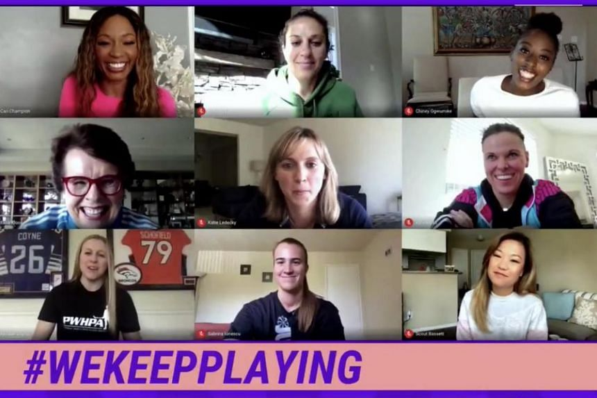 Billie Jean King (middle row, left) during an online panel event titled #WeKeepPlaying.