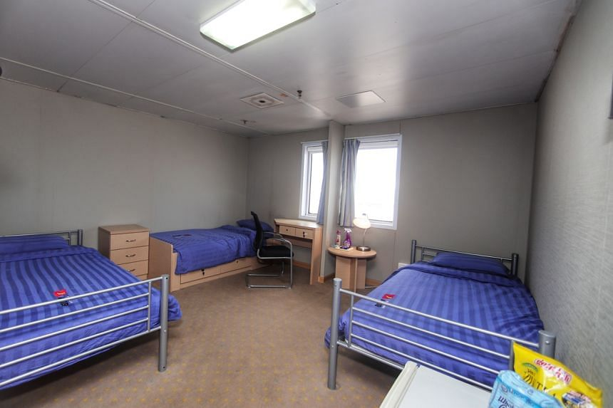A room in a floating accommodation facility at Tanjong Pagar Terminal that is temporarily housing foreign workers.