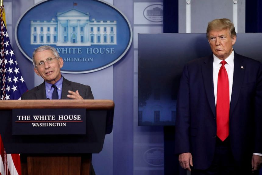 National Institute of Allergy and Infectious Diseases director Dr Anthony Fauci speaks as US President Donald Trump listens during the daily coronavirus task force briefing, on April 13, 2020.