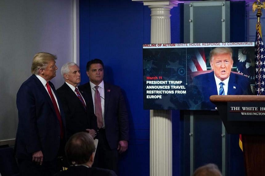 President Donald Trump played a self-congratulatory, anti-media video during the daily briefing on April 13, 2020.