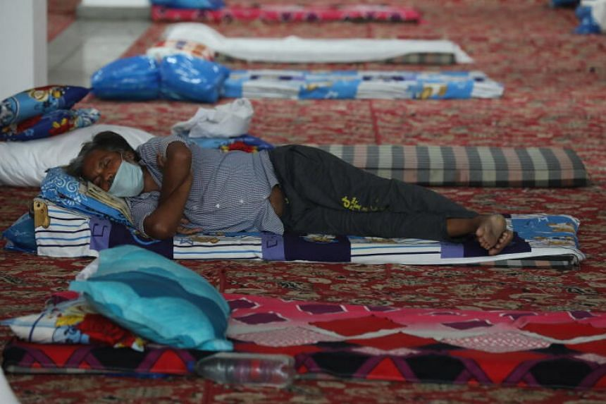A man resting in a shelter in New Delhi on April 14, 2020.