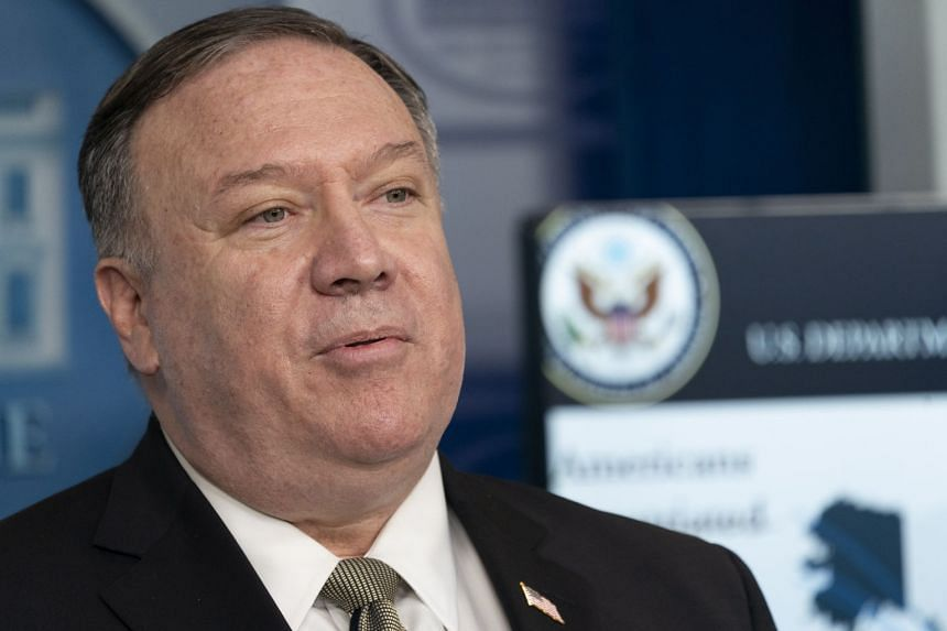 Mike Pompeo speaks during a coronavirus news briefing at the White House.
