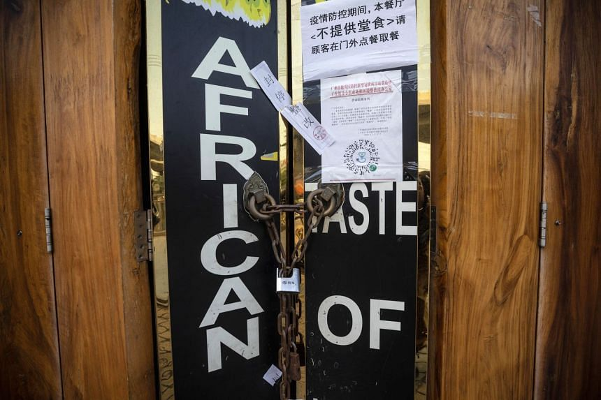 A closed African restaurant is seen in Guangzhou, Guangdong province, China, April 13, 2020.