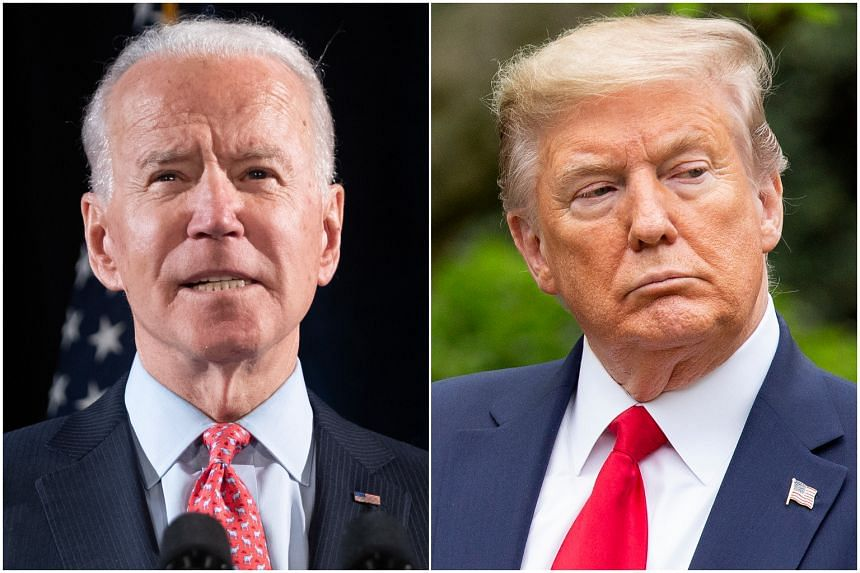 Forty-five per cent of registered voters said they would back Mr Joe Biden (left), while 40 per cent said they would vote for Mr Donald Trump.