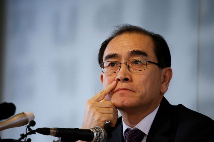 Former North Korean diplomat Thae Yong Ho speaks during a news conference in Seoul, on Feb 19, 2020.