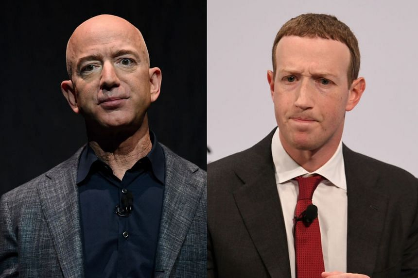 Jeff Bezos (left) and Mark Zuckerberg participated in White House conference calls.
