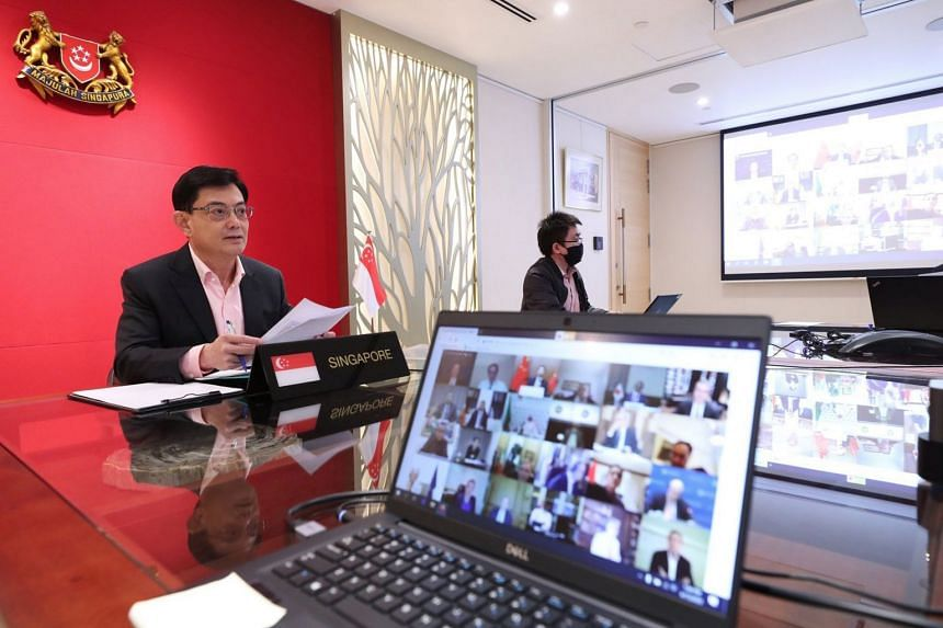 Singapore Deputy Prime Minister Heng Swee Keat took part in the virtual meeting (above).