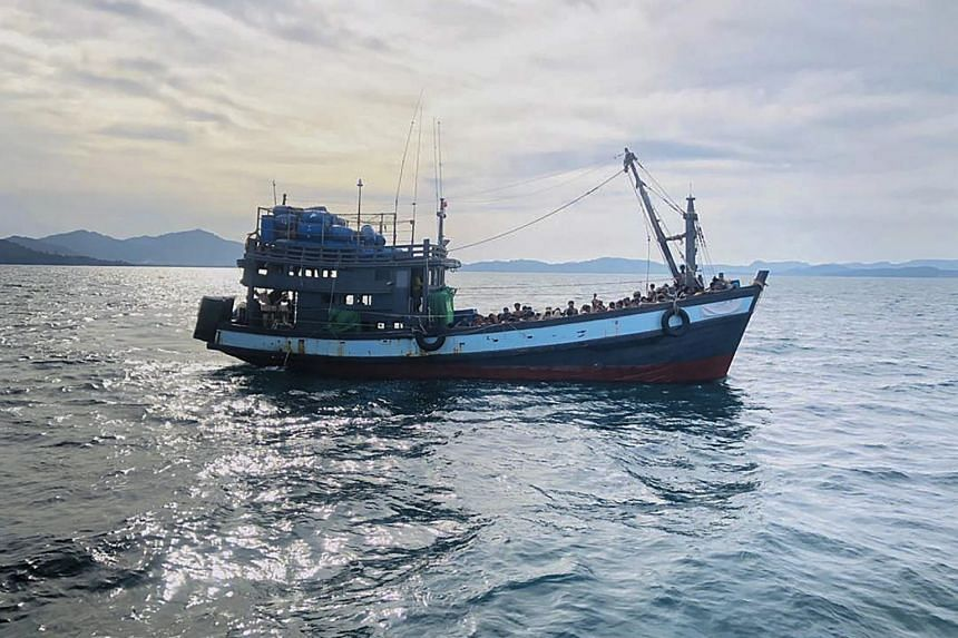 A boat carrying suspected Rohingya migrants detained in Malaysian territorial waters off the island of Langkawi, on April 5, 2020.