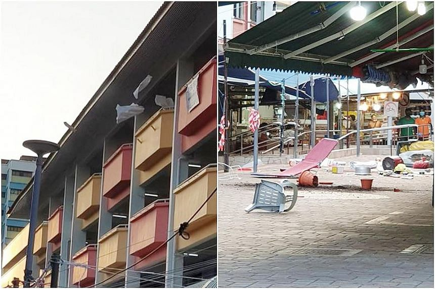 Photos and videos posted on Facebook show a man throwing items from the fourth floor of Block 102 Yishun Avenue 5. A plastic chair, pots and other debris can be seen strewn on the ground at the foot of the block. The photo on the right is believed to