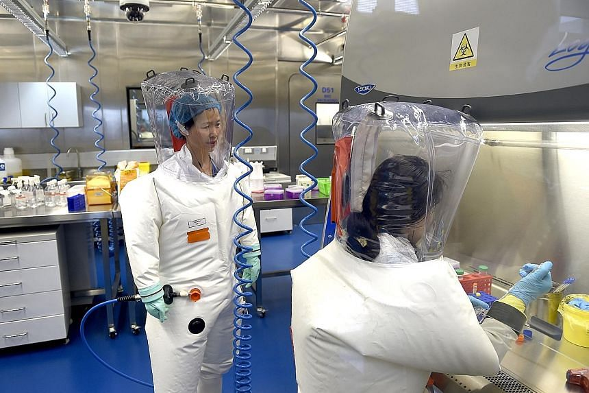 A 2017 file photo of researchers at a lab in the Wuhan Institute of Virology. The institute has dismissed claims that the novel coronavirus was synthesised at one of its laboratories or leaked from its facilities. Despite the scientific evidence to t