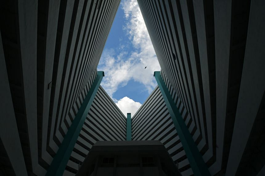The four blocks in Taman Jurong are connected to form a diamond with a courtyard in the middle.