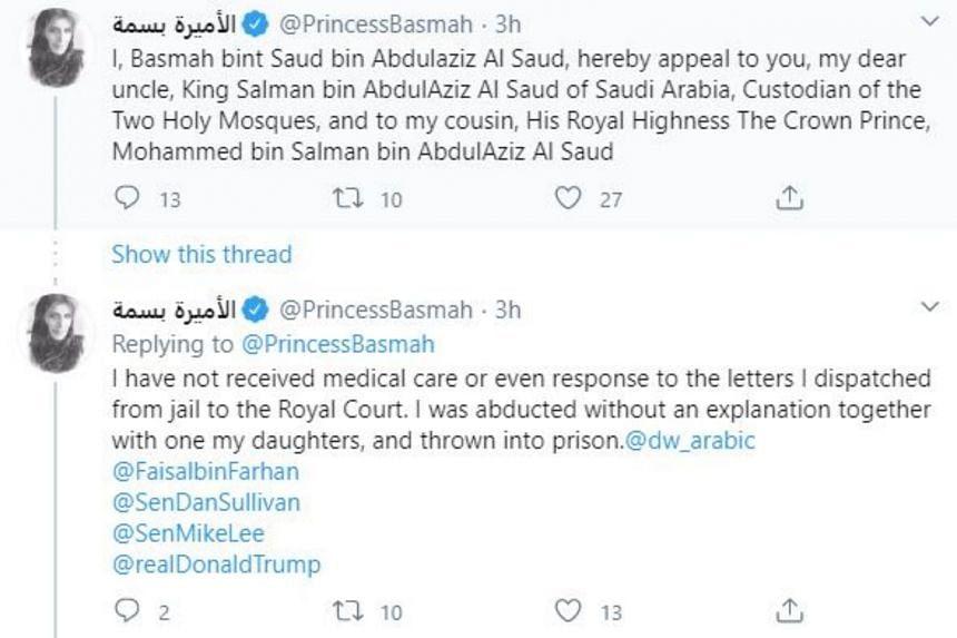 Princess Basmah bint Saud's public plea for her release is the latest sign of turmoil within the kingdom's secretive royal family.