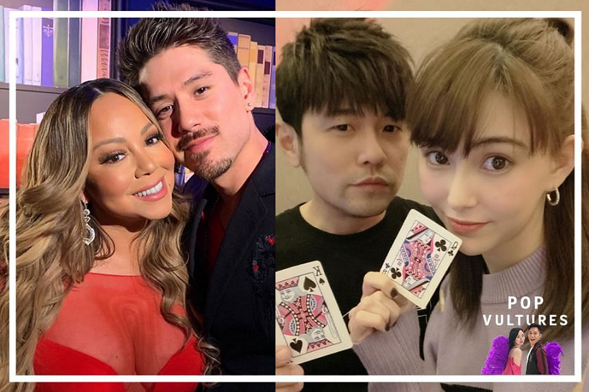 (From left) American singer Mariah Carey with her boyfriend Bryan Tanaka; Taiwanese singer Jay Chou and his wife Hannah Quinlivan.