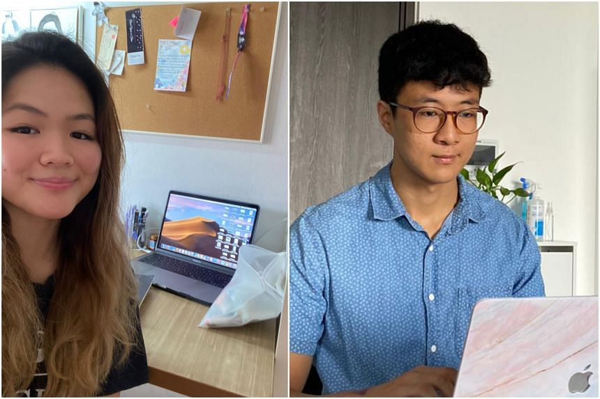Ms Ashley Lui and Mr Yang Yuhao have had to adapt to working from home during their internships.