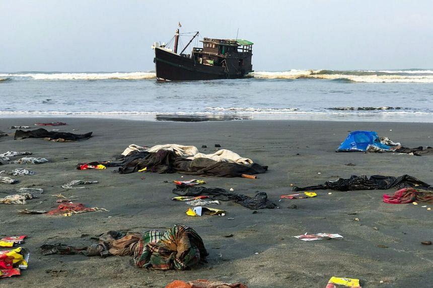 Belongings of Rohingya refugees lay on the shore in Teknaf, Bangladesh on April 16, 2020.