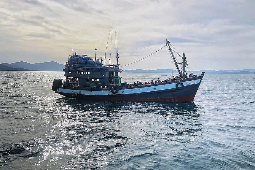 An April 5 photo from the Malaysian Maritime Enforcement Agency showing a boat carrying suspected Rohingya migrants detained in Malaysian territorial waters off the island of Langkawi. Malaysia is a favoured destination for the migrants from Myanmar,