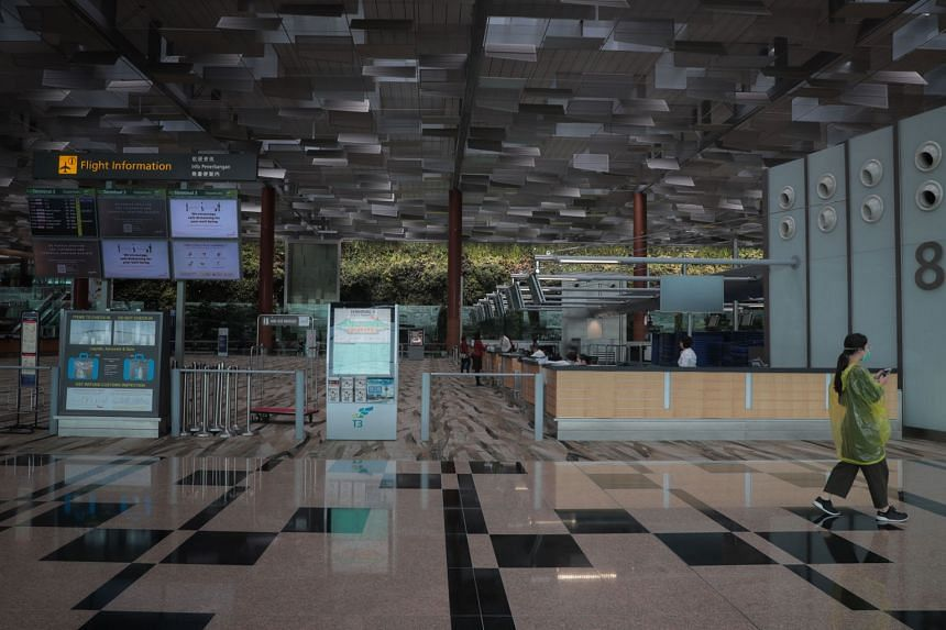 A near-empty Terminal 3 in Changi Airport last week, after circuit breaker measures kicked in to curb the spread of the coronavirus. Overall, for the first quarter of this year, the airport handled 11 million passengers, a year-on-year fall of 32.7 p