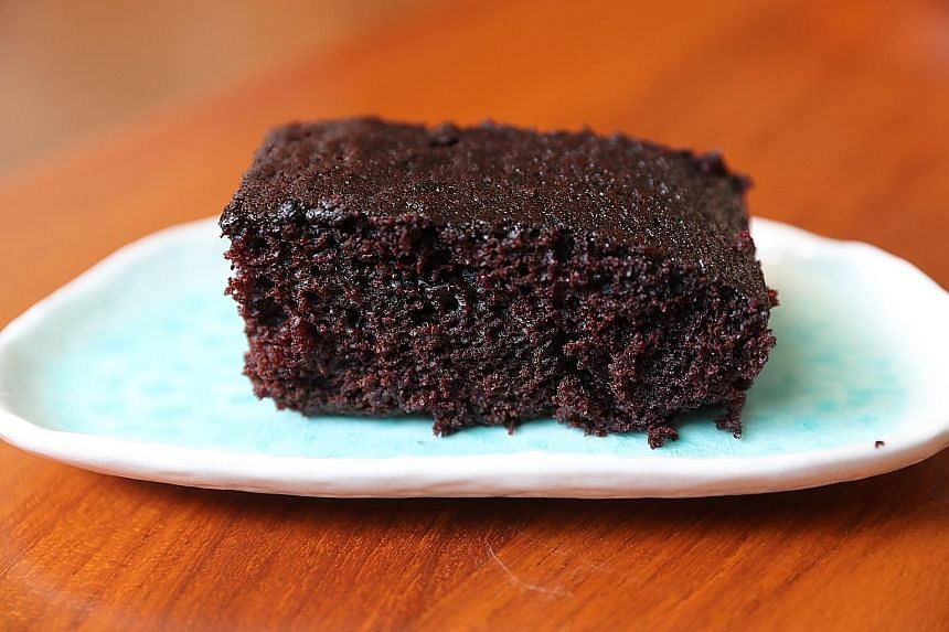 This recipe for chocolate cake uses water and oil instead of eggs and butter.