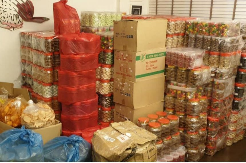Ms Roselin Khatoon's apartment, which is filled with goods that she had ordered for plans to sell at the Ramadan Bazaar at Geylang, which has since been cancelled.