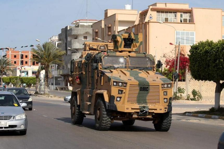 A Turkish-made armoured personnel vehicle in Sorman, Libya, on April 13, 2020.