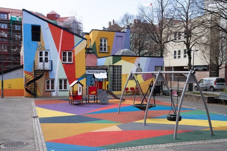 The Mosaic kindergarten in Norbygata, Norway, on April 3, 2020.