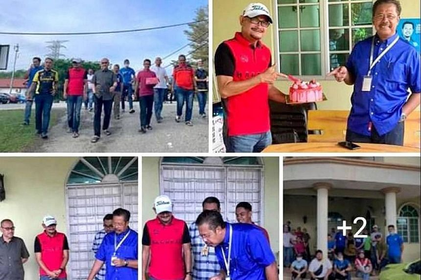 Malaysia's Deputy Rural Development Minister Abdul Rahman Mohamad (in blue shirt) says a gathering where a cake was presented to him by a group of people was unplanned and not meant to violate the country's movement control order. The photos sparked