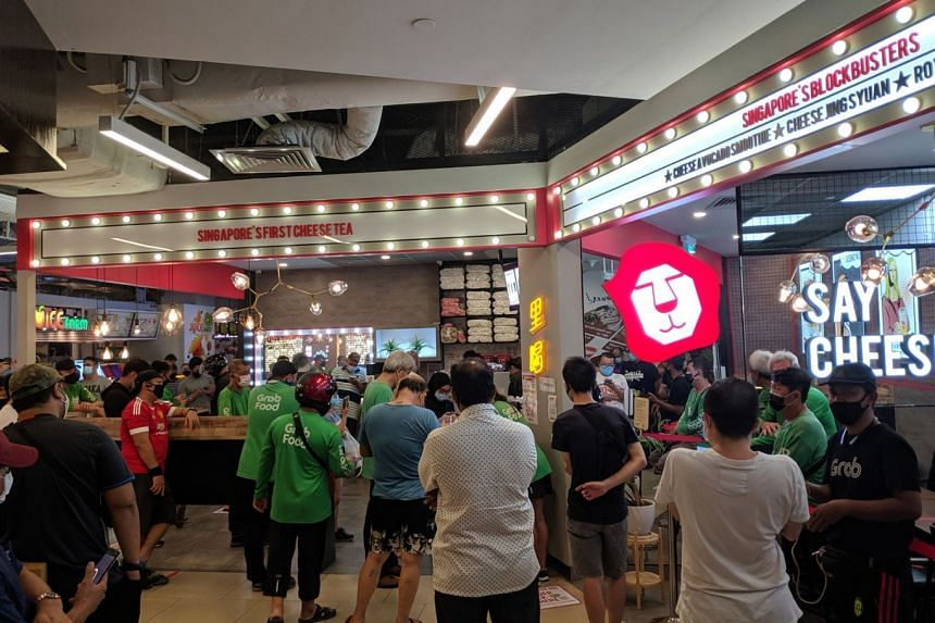 A queue at the Koi outlet in Seletar Mall on April 21, 2020.