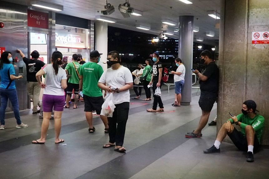 A queue at the Gong Cha outlet at Woodlands MRT station on April 21, 2020.
