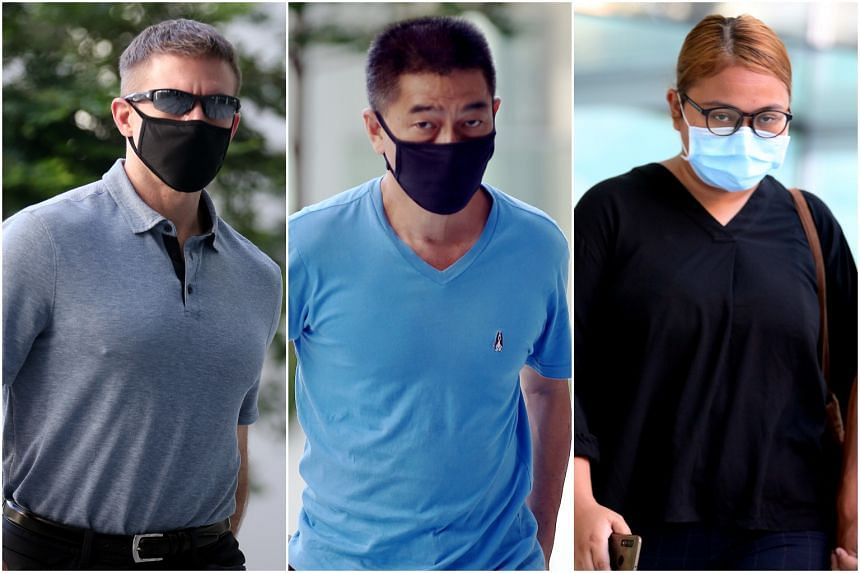 (From left) US commercial pilot Brian Dugan Yeargan and Singaporeans Chong Chun Wah and Siti Wan Su'Aidah Samsuri were charged in court on April 21, 2020.