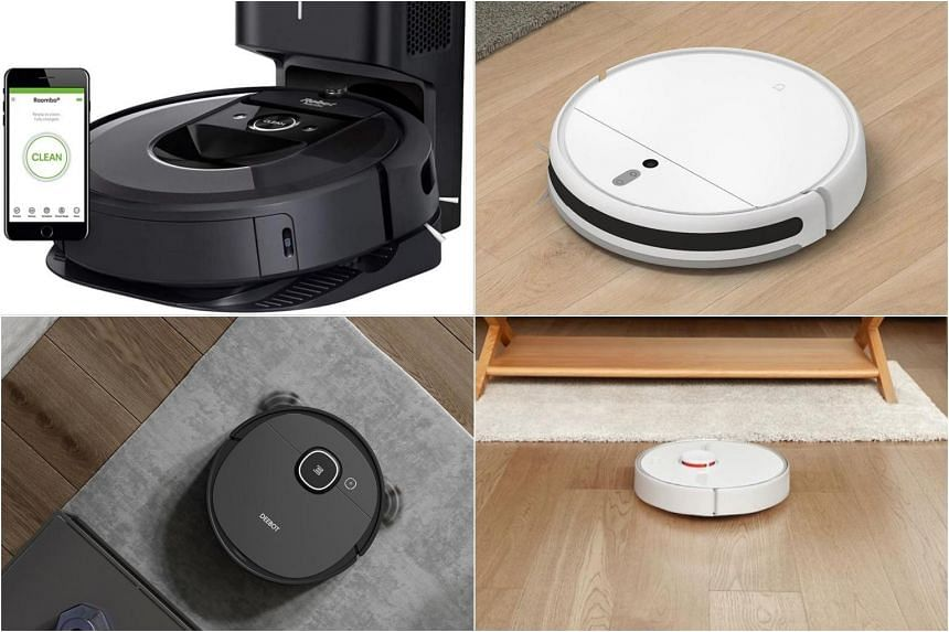 (From top left) Roomba i7+, Xiaomi MiJia 1C, Roborock S6 Pure and Ecovacs Deebot Ozmo 920.