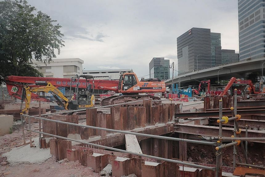 A construction site at Labrador Villa Road yesterday, the second day of the sector-wide stay-home notice. It was announced on Saturday night that all work permit and S Pass holders in the construction sector would have to stay in their residences for