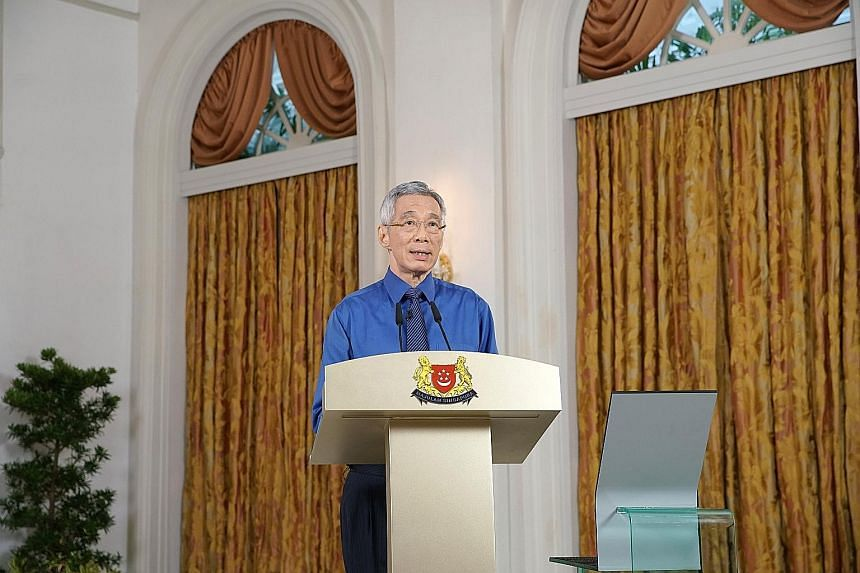 Prime Minister Lee Hsien Loong called on Singaporeans to stay home as far as possible, urging those who have to go out to do so alone.