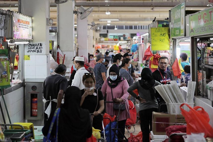 Shoppers in Geylang Serai market ahead of Ramadan on April 22, 2020.