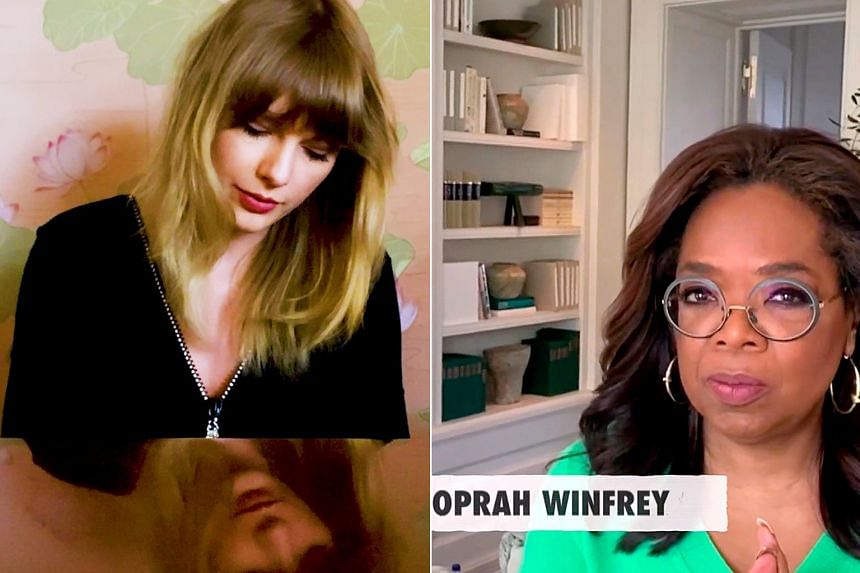 (Clockwise from left) Pop singers Lady Gaga and Taylor Swift and media mogul Oprah Winfrey were among the celebrities featured in the musical event held in support of front-line workers battling the coronavirus outbreak.