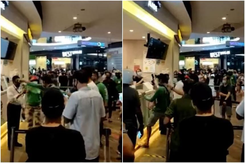 Videos of the incident show the GrabFood delivery rider shouting at Playmade employees at the outlet.