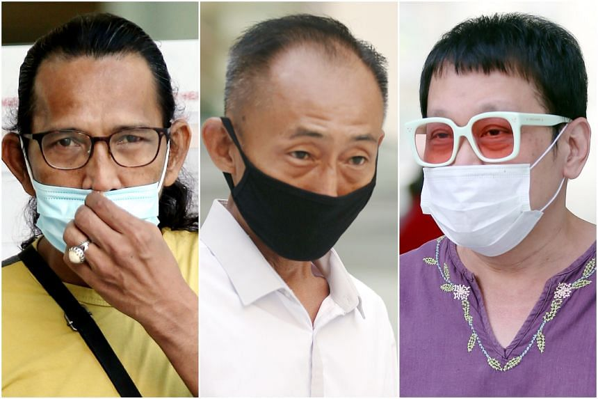 (From left) Mohamed Ali Ramly, Poh Cher Wee and Alan Lim at court on April 22, 2020.